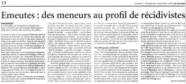 06.11.2005 - Portrait émeutiers, Le Figaro